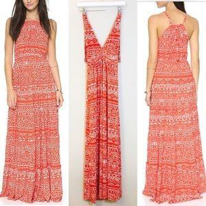 T-bags Los Angeles Blood Orange Halter Maxi Dress